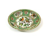 Vintage Daher Decorated Ware bowl - Birds and Cherries - Lithograph plate - green red