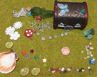Miniature Fairy garden and house kit in a wooden box