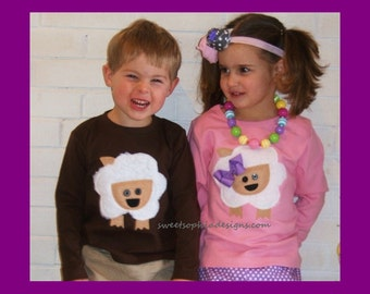 Fuzzy Lamb Shirt Girl or Boy ... Toddler Youth Sizes