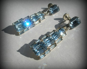 Stunning Pale Blue Rhinestone Earrings