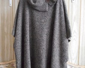Poncho, Cape, Jacket, Boucle Wool Blend Polar Fleece, Pullover, partially Open sides, Boho, One of a kind. Warm and washable.