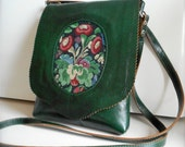 Leather Handbag, Cross body Purse, Thick, Quality, Deep Green Italian Leather, Floral Tapestry Center Front, Handcrafted,  One of a kind..