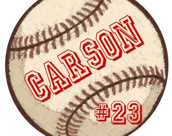 Vintage Baseball simple name and number iron on at Giggles to Go