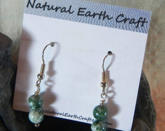 Green and white tree agate earrings stone jewelry semiprecious stone jewelry packaged in a colorful gift bag 2491