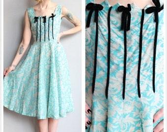 Sale 1950s Dress // Silver Leaf Party Dress // vintage 50s dress