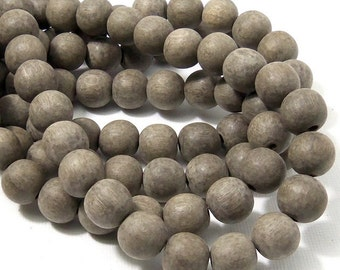 Unfinished Graywood, 10mm, Round, Natural Wood Beads, 16 Inch Strand - ID 2163