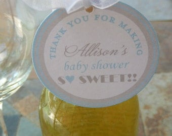 "Baby Shower Thank You Favor Tags - For Mini Wine Bottles - Party Favors - Cookies - Favors - (50) 2"" So Sweet Heart Favor Gift Tags"