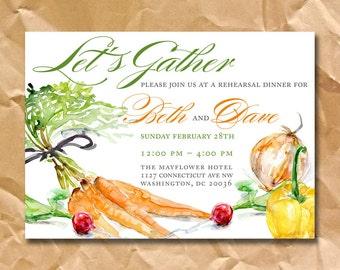 Farm to Table Wedding Invitations Template / Custom Farm to Table Rehearsal Dinner Invitation / Rustic Fall Invitations / Barn Wedding