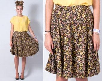 Vintage 1950s Pinwheel Retro Print Full Circle Skirt * Black Yellow Green Tan Brown Rockabilly Boho * Size Small Medium * FREE SHIPPING