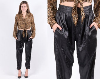Vintage 1980s Black Satin Jogger Pants * Tapered Boyfriend Joggers Hipster Blogger Favorite *
