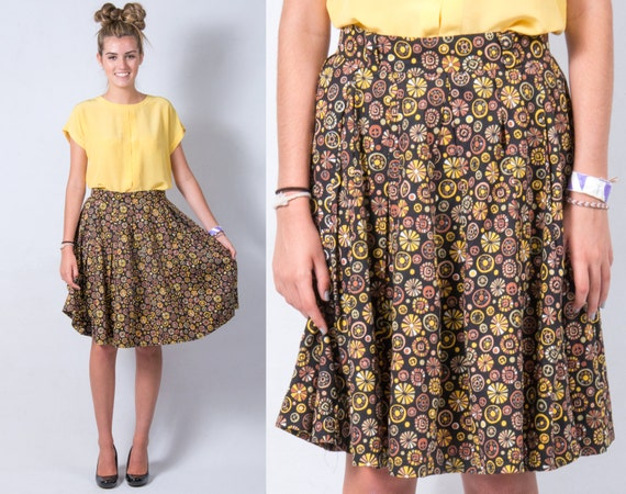 Vintage 1950s Pinwheel Retro Print Full Circle Skirt * Black Yellow Green Tan Brown Rockabilly Boho * Size Small Medium * FREE SHIPPING