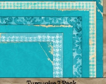 Turquoise digital paper 7 pack. Commercial Use okay. Scrapbook invitations supplies