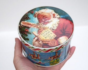 Tin box Santa Claus Christmas Daher storage container England candy jar treat box winter holidays