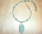 Blue Amazonite Carved Peony Flower Necklace