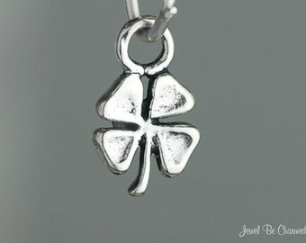 Miniature Sterling Silver Four Leaf Clover Charm Good Luck Lucky .925