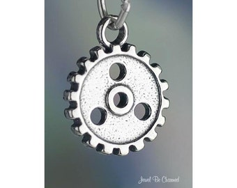 Sterling Silver Gear or Cog Charm Machine or Steampunk 3D Solid .925