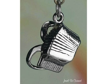 Sterling Silver Accordion Charm Polka Music Instrument Solid .925