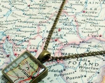 SALE Portland, Oregon 1964 Map Necklace. Square Pendant. Map Pendant. Map Jewelry.