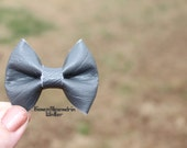 Faux Leather Brooch. Bow Brooch. Bridal Accessories. Gray Bowtie Groomsmen Pin. Bowtie Brooch. Bridesmaid Pin. Bow Shaped Pin.