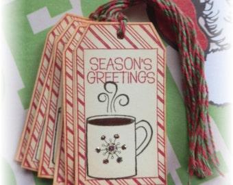 Hot Cocoa-- Seasons Greeting-- Coffee - Gift/Tags (8)