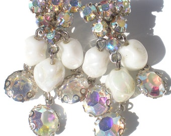 Vintage Jewelry Clip On Dangle Earrings with White Iridescent Glass & Aurora Borealis Rhinestones on Silver Tone - Bridal Wedding Jewelry