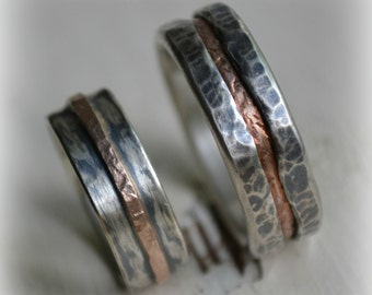 rustic silver and 14K rose gold wedding ring set - handmade silver and gold wedding bands - oxidized rings - his and hers customized