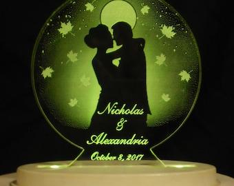 Moonlight Autumn Romance  Wedding Cake Topper  - Acrylic -Personalized - - Light EXTRA