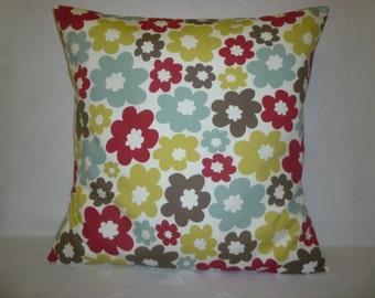 "BIG 20"" Pillow Cover Euro Sham Red Blue Green Retro Floral Designer Cotton Cushion Cover.Pillowcase Sham Slip"