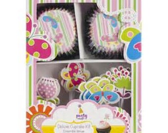 GARDEN PARTY Deluxe Cupcake Kit - QTY 24  - Cupcake Pick - Cupcake Wrappers - Garden Party Birthday - Butterflies - Flowers