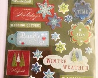 K & C LLO  --  Winter Words   --  NEW --  dimensional stickers  (#1892)  Winter