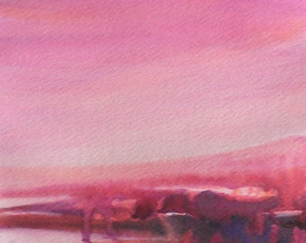 Landscape Series 21. Original Acrylic on Paper Painting.