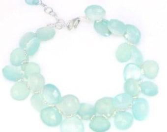 Seafoam green/blue chalcedony bracelet in sterling