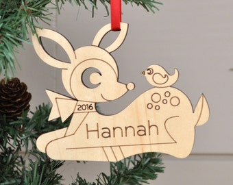 Wooden Deer Personalized Ornament Baby's First Christmas Kids