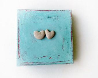 Gift for Couple, Engagement Gift Unique, Unusual Wedding Gift  - Unique Engagement Gift -  genuine Heart shaped Beach stones rocks - S16