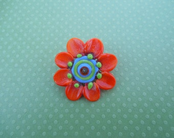 Orange Lampwork Flower by mystic Moon Beads SRA #U5