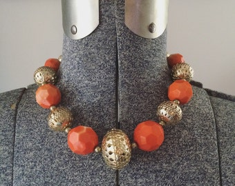 Vintage 60s Mod Necklace Choker // Orange and Gold Beads