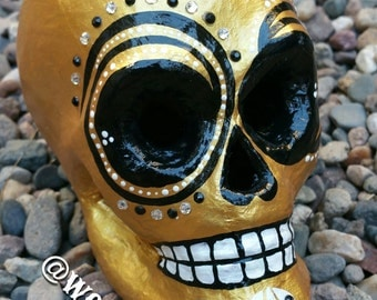 Metallic Gold Sugar Skull (Ready to ship)