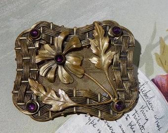 Antique Aesthetic Period Brass Brooch w/ Flower Design & Amethyst Stones    NAZ39