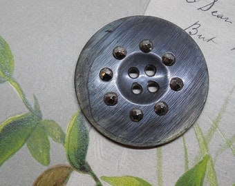 Antique Dyed Horn Button w/ Faceted Cut Steel Studs 1.1/2""