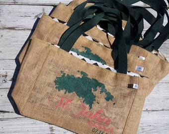 St. John USVI - Virgin Islands - Destination Custom Wedding Burlap Tote Bags - Handmade Wedding Favors or Bridesmaids Gifts