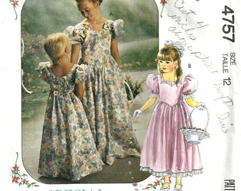 McCall's Pattern 4757 Girls Bridesmaid, Flower Girl Dress  Size 12 1990's