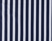 SALE  Navy   White  Stripe     Modern Designer Apparel Quiltin  Cotton fabric.