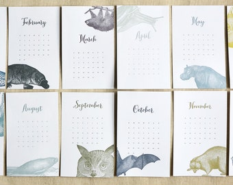 SALE! *65% off* 2016 Letterpress Calendar (in twelve animals...& twelve months)