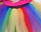Extra Full Rainbow Tutu with a Crochet Waistband for newborn and up