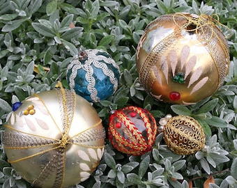 Shabby Boho Vintage Christmas Holiday Embellished Ornaments German Glass with Metallic Wire Trim Three Handmade Home Decor