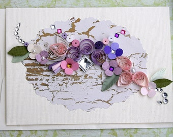 Quilled All Occasion Card - Pink and Purples on Shabby Cracked Wood Background