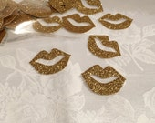 Confetti, 100 ct Glitter Lips Shaped Confetti Party Decor Table Decorations, MANY COLORS AVAILABLE