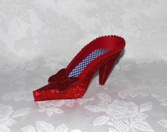 Paper Shoe Keepsake, Ruby Red Glitter Slipper with Blue Gingham High Heel Paper Keepsake Shoe, Art Sculpture, Decoration, Original Design