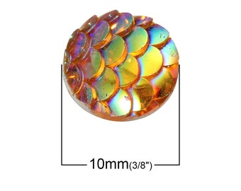 10 pcs Mermaid Fish Scales Resin Carved Embellishment Cabochons Orange AB - 10mm (3/8 in)