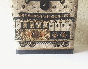 Vintage, 1960, Enid Collins, Cable Car, Canvas, Hand Painted, Jeweled, Bucket Purse, Retro, Leather Handle, Signed Original,  Handbag